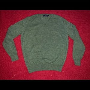 Men's JCrew Green w/ White Speckled V-Neck Sweater